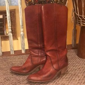 FRYE tall western style genuine leather boots